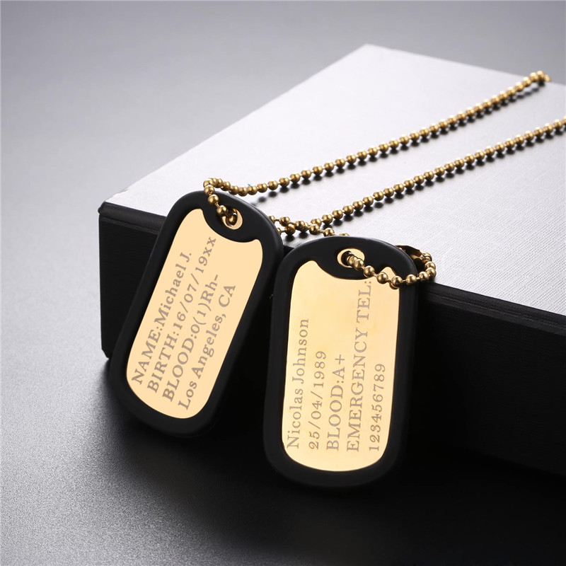 Name Necklace Personalized Dog Tag Stainless Steel