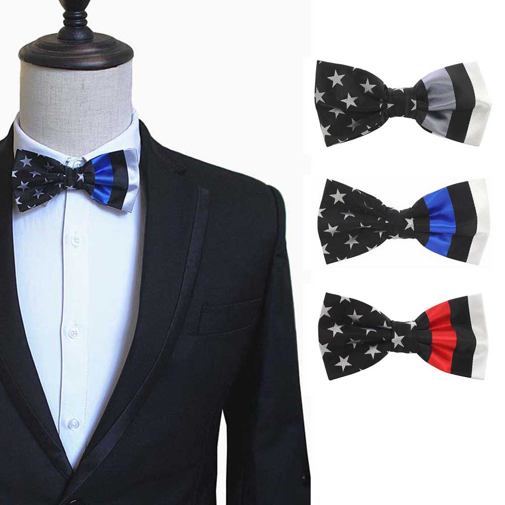 The Thin Blue Line, The Thin Red Line, American Flag Design Mens Bow Tie